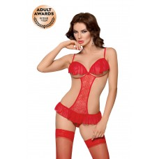 Боди c открытой грудью и интимным вырезом SoftLine Collection Orsola, красный, M/L
