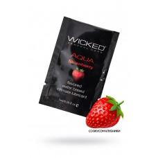 Лубрикант WICKED AQUA Strawberry, со вкусом сочной клубники, 3 мл