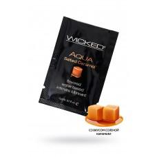 Лубрикант WICKED AQUA Salted Caramel, со вкусом соленой карамели, 3 мл