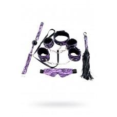 Кружевной наборTOYFA Marcus (маска, наручники, оковы, ошейник, флоггер, кляп), пурпурный